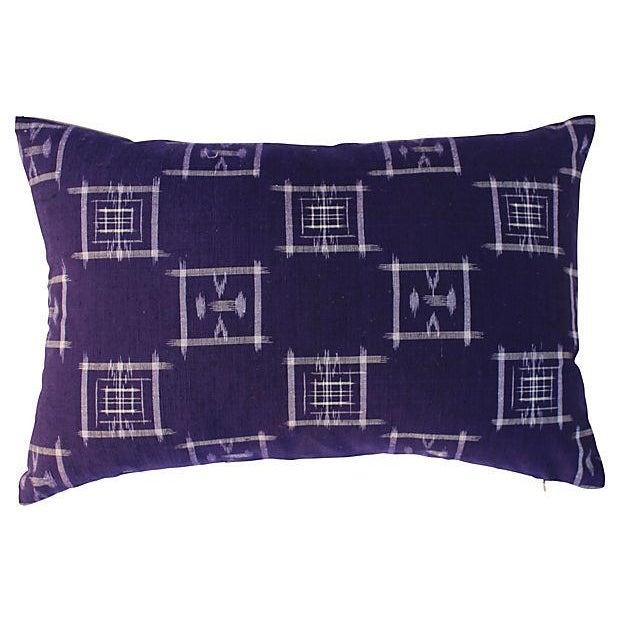 Japanese Ikat Indigo Pillows - Pair For Sale - Image 4 of 5