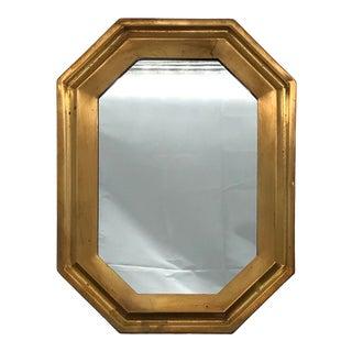 Mid Century Brass Octagonal Mirror For Sale
