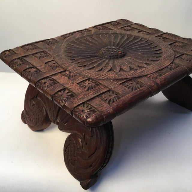 1900s Antique English Hand Carved Footstool For Sale - Image 9 of 12