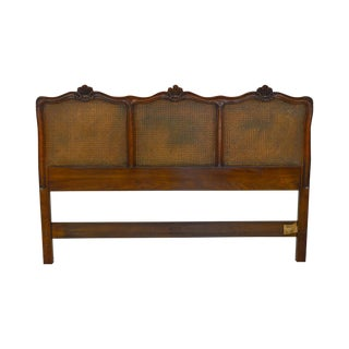 Kindel French Louis XV Style Fruitwood Cane Panel Queen Headboard