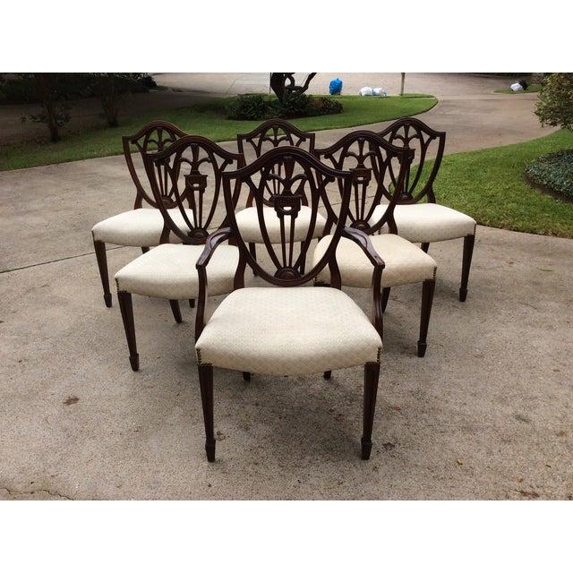 Hepplewhite Mahogany Shield Back Dining Chairs-S/6 - Image 2 of 10