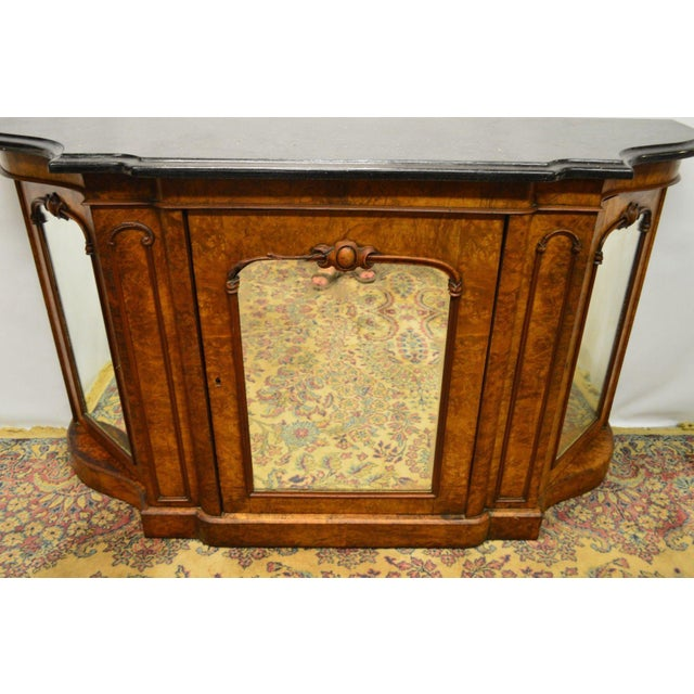 Traditional Antique 1800's Burl Walnut Mirrored Sideboard For Sale - Image 3 of 11
