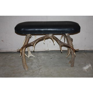 20th Century Black Leather Top Bench With Stag Antler Base Preview