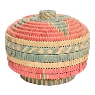 Vintage Wicker Basket Trinket Box With Lid