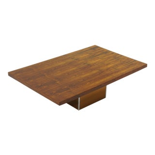 Milo Baughman Rosewood Rectangle Top Coffee Table With Bronze Mirror Base For Sale