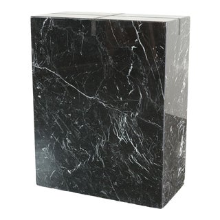 Wood Inlaid Marble Pedestal For Sale