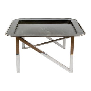 Marble Printed Lacquered Parchment Table For Sale