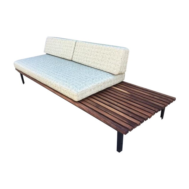Mid-Century Green Tweed Daybed Sofa & Side Table - Image 1 of 4