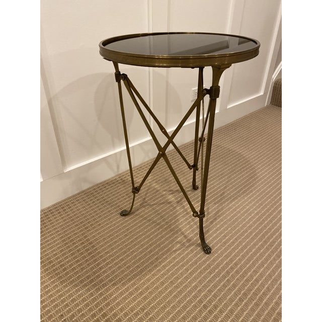 1990s Vintage Neoclassical Iron and Granite Side Table For Sale - Image 10 of 12