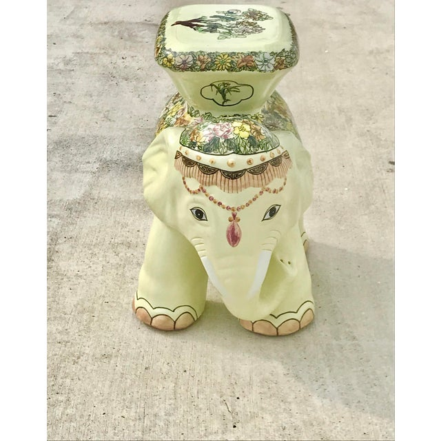 Vintage elephant garden stool. Ceramic with painted details. Perfect to use indoors or out. This is a pre-owned item so...
