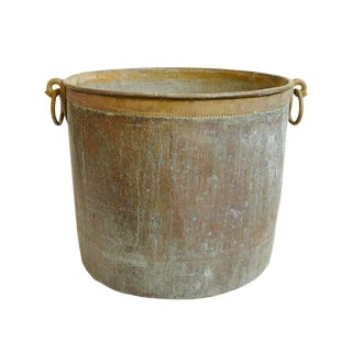 Antique Copper & Bronze Hammered Pot / Planter For Sale