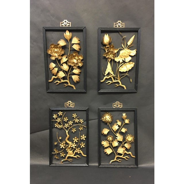 Asian Brass Wall Hangings - Set of 4 For Sale - Image 9 of 9