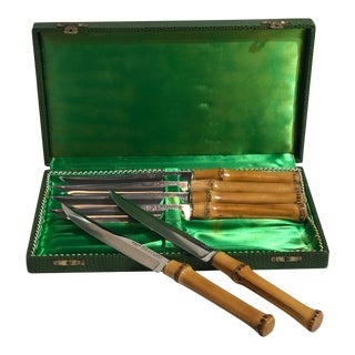 Vintage Steak Knives by Solingen with Real Bamboo Handles in Original Box - Set of 6, 7 Pieces For Sale