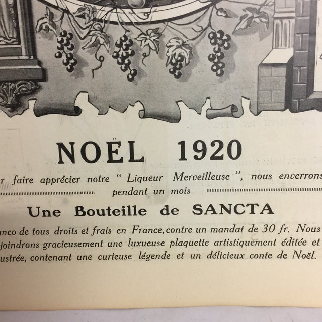Original 1920 French Sancta Liqueur Ad For Sale - Image 4 of 7
