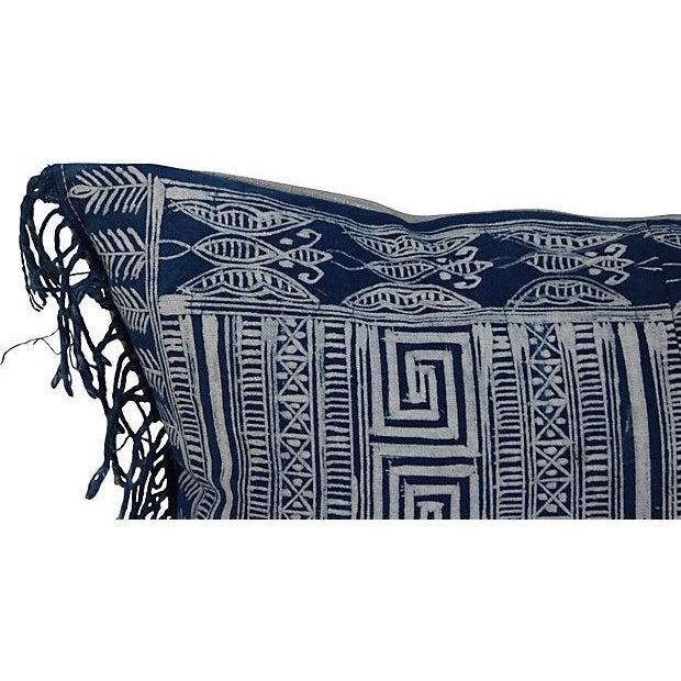 Indigo Batik Fringe Pillow - Image 4 of 5