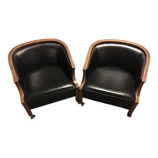 John Stuart Black Leather & Wood Bucket Chairs on Casters - A Pair For Sale