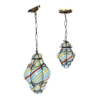 Vintage Striped Murano Caged Glass Pendant Lights-Hand Blown-A Pair