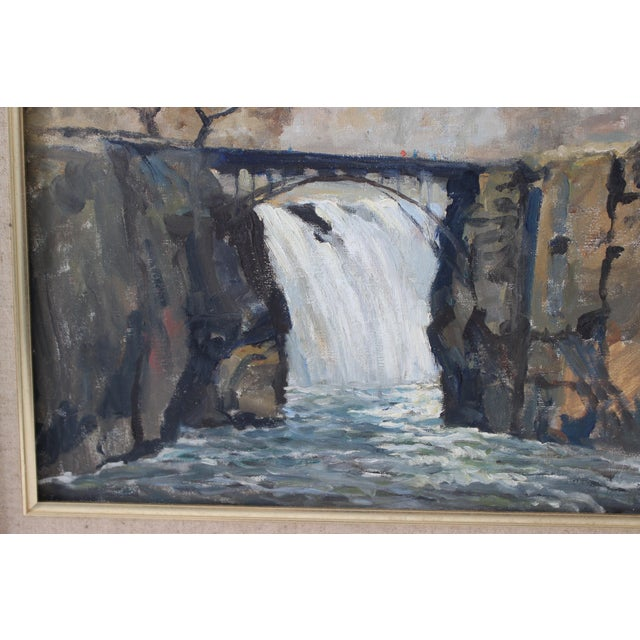 """Vintage Oil Painting """"Paterson Falls"""" John Elliot, Opa For Sale In West Palm - Image 6 of 12"""