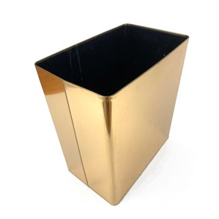 1960s Vintage Mid-Century Modern Brass / Gold Rectangular Waste Basket Trash Can Preview