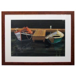 Watercolor on Paper 'Interlude, Two Dories, Boston Harbor Signed 'Michael Dunlavey' For Sale