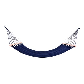 Handmade Navy Blue Cotton Hammock with Wooden Bar For Sale