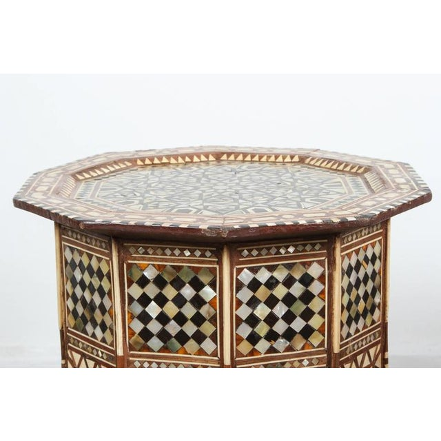 Pair of Syrian Octagonal Tables Inlaid with Mother-Of-Pearl For Sale - Image 9 of 10