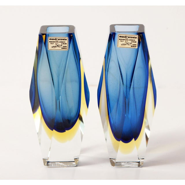 "Mid 20th Century Vintage 6"" Murano Art Glass Seguso Blue & Amber Faceted Vases by Alessandro Mandruzzato - a Pair For Sale - Image 5 of 9"