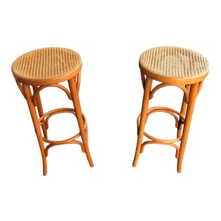 Thonet Bentwood Style Rattan Stools - a Pair For Sale