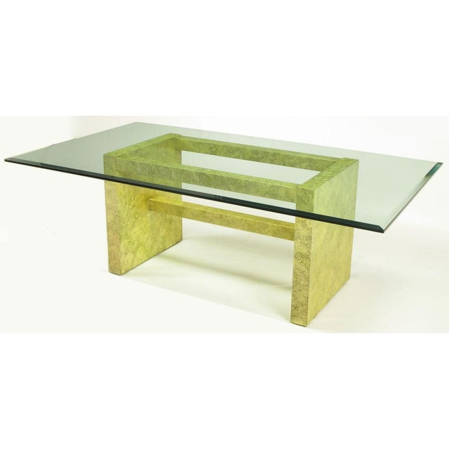 1970s Henredon Circa 75 Glass & Marbleized Base Dining Table For Sale - Image 5 of 8