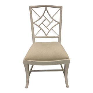 Bungalow 5 Chinese Chippendale Antique White Evelyn Side Chair For Sale