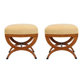 Traditional Pair of Antique Biedermeier Style Stools For Sale