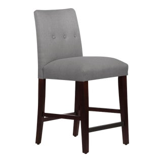 Tufted Linen Grey Tapered Counter Stool For Sale
