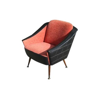 1960s Vintage Wool & Vinyl Arm Chair For Sale