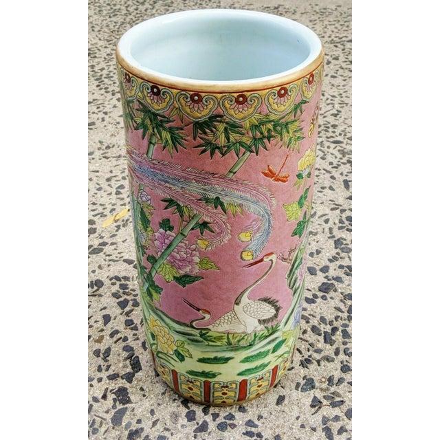Asian Vintage Chinese Famille Rose Medallion Porcelain Umbrella Stand For Sale - Image 3 of 11