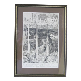 1912 Max Klinger Black & White Lithograph Poster German Ehrenurkunde For Sale