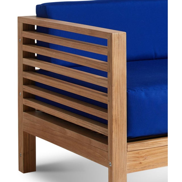 Summer 3 Person Teak Outdoor Sofa with Sunbrella True Blue Cushions For Sale - Image 4 of 6