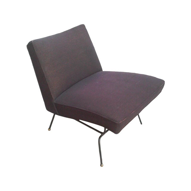 Baughman-Style Mid-Century Iron Frame Slipper Chair - Image 1 of 7