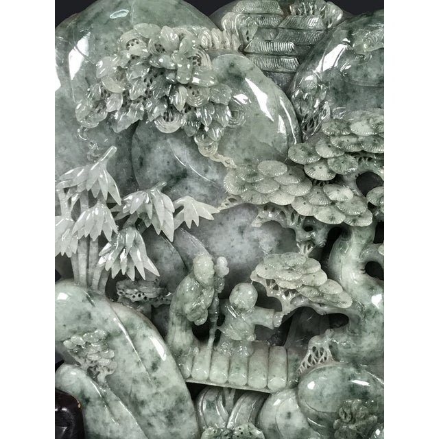 Chinese Art Carved Green Jade Mountain With People - Image 10 of 11