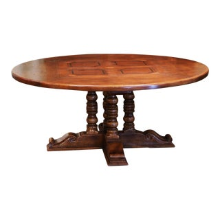 Mid-Century French Carved Walnut Pedestal Round Dining Table With Parquetry Top For Sale