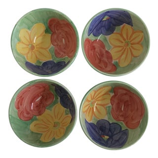 Vintage Bob Mackie Colorful Floral Ceramic Bowls - Set of 4 For Sale