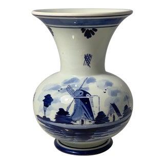 Delft Windmill Motif Vase For Sale