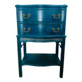 Image of Antique Chippendale Teal Side Table For Sale