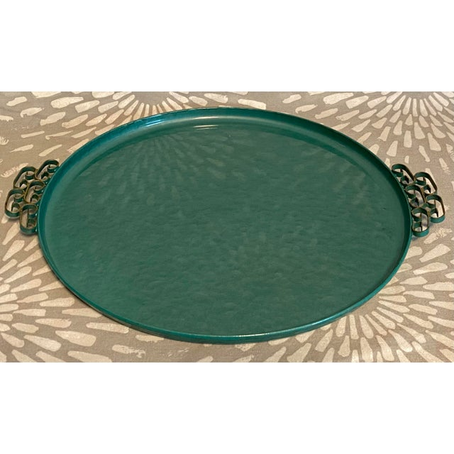 Beautiful turquoise/teal green tray with scroll work handles. Lovely piece from the late 1950s with little to no wear....