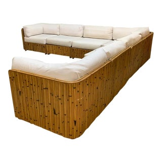 Split Reed Rattan Wrapped Sectional Sofa For Sale