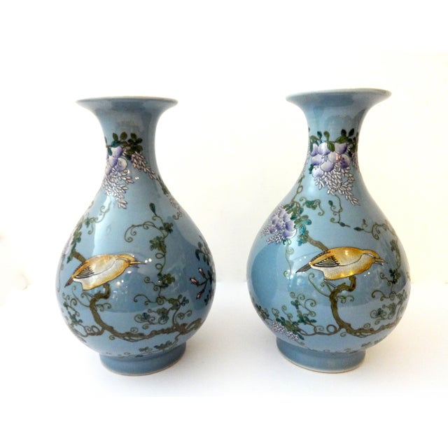 Powder Blue Famille Rose Vases- A Pair For Sale In New York - Image 6 of 7