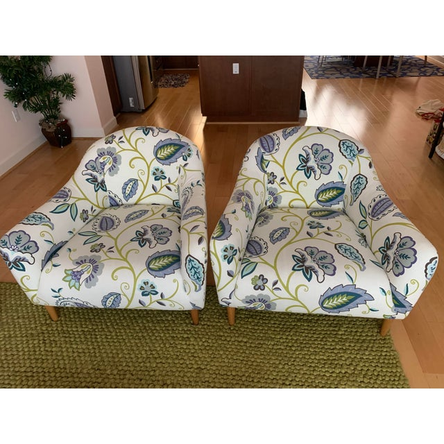 2010s Modern Floral Accent Chairs - A Pair For Sale - Image 5 of 5