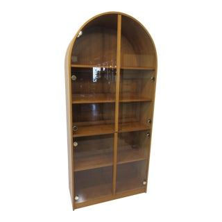 Teak Wood / Glass Door Light Up Bookcase Display Cabinet For Sale