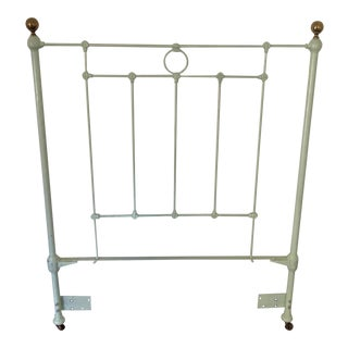 Antique Shabby Chic Green Iron Twin Headboard For Sale