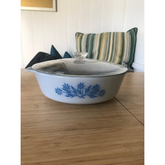 Blue Anchor Hocking Blue Glaze Lidded Casserole For Sale - Image 8 of 8