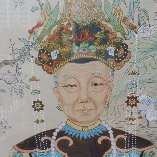 Blue Hand Painted Chinese Ancestor Portrait Paintings - a Pair For Sale - Image 8 of 13